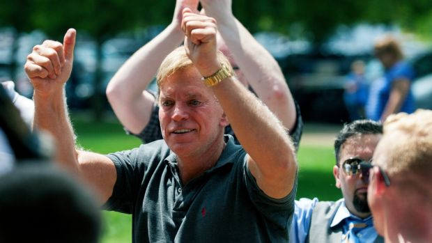Former Louisiana State Representative David Duke arrives at a white nationalist protest in Charlottesville. Photograph: Shaban Athuman/Richmond Times-Dispatch via AP
