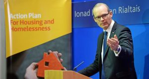 Simon Coveney: the failure of his effort to move hundreds families from hotels and B&Bs by July 1st was rewarded with Cabinet promotion. Photograph: Eric Luke