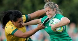 Kayla Sauvao of Australia and Ireland's Alison Miller at UCD during  a Women's Rugby World Cup match that ended Ireland 19, Australia 17. Photograph: Dan Sheridan/Inpho