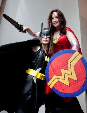 Megan Depinna as Batgirl & Karen Burke as Wonder Woman both from Galway at Dublin Comic Con 2017 in the Convention Centre Photo: Gareth Chaney Collins