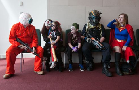 Declan Murphy from Navan as Mr Eyeball, Janis Murphy as Katana from Navan Freya Murphy 4 as Harley Quinn from Navan, Quinn Murphy as The Joker from Navan, Luke Furlong from Cabra as Titan Pilot, Venla from Finland as Super Girl at Dublin Comic Con 2017 Photo: Gareth Chaney Collins
