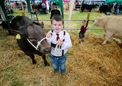Brothers Micheal (7)  and Darragh (3) Creed from  Inchigeela, Macroom, Cork at the Tullamore Show.  Photograph Nick Bradshaw