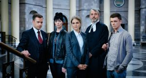 Legal drama 'Striking Out' starring Amy Huberman (centre), made for RTÉ by Blinder Films, was shown earlier this year. It will return for a second series.