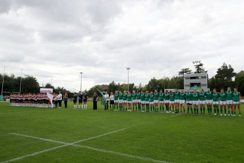 The  teams stand for the national anthems. Photograph: Dan Sheridan/Inpho
