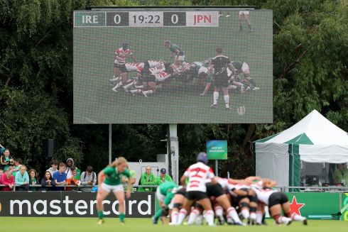 A general view of a scrum on the big screen. Photo: Dan Sheridan/Inpho