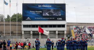 A tribute to the late Tony Keady before the All-Ireland Senior Hurling Championship Semi-Final at Croke Park, Dublin, on the day of his funeral.   Photograph:  ©INPHO/Lorraine O'Sullivan