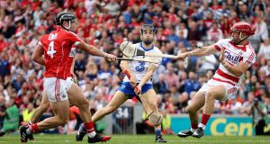 Waterford's Jamie Barron scores his side's fourth goal against Cork in the All-Ireland semi-final at Croke Park.   Photograph: Photograph: Ryan Byrne/Inpho