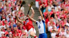 Cork's Patrick Horgan and Shane Fives of Waterford contest a high ball at Croke Park. Photograph: James Crombie/Inpho