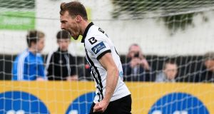 David McMillan celebrates a goal for Dundalk against Derry City at Oriel Park.  Photograph: Ciaran Culligan/Inpho