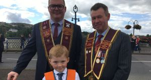 Davy Stewart, his son Jesse, and Robert Gillespie from Fivemiletown Apprentice Boys of Derry. Photograph: Freya McClements