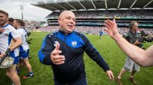 Waterford manager Derek McGrath celebrates his team's victory over Cork at Croke Park. Photograph: Ryan Byrne/Inpho