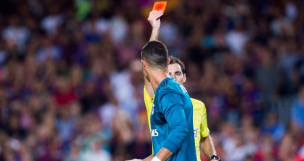 Real Madrid s Cristiano Ronaldo is shown a red card during the Supercopa  first-leg match 1d8c04998