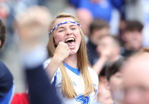 DÉISE DELIGHT: Waterford fans celebrate their side's 4-19 to 0-20 victory over Cork in the All-Ireland senior hurling championship semi-final at Croke Park. Photograph: Tom Honan