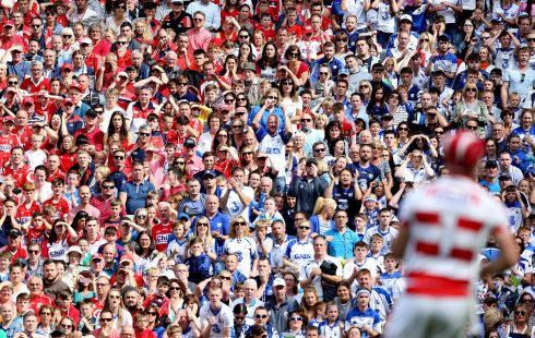 CAPTIVATED: About 75,000 fans watched on as Waterford set up an All Ireland final meeting with Galway after capitalising on a red card for Damien Cahalane to defeat Cork. Photograph: Tom Honan