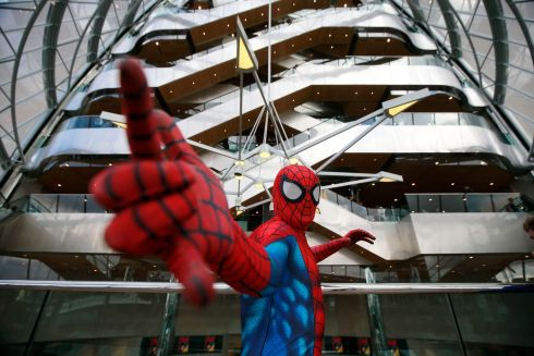 FRIENDLY NEIGHBOURHOOD SPIDERMAN: Jamie Kenny from Drogheda dressed as Spiderman at Dublin Comic Con at the Convention Centre. Photograph: Nick Bradshaw