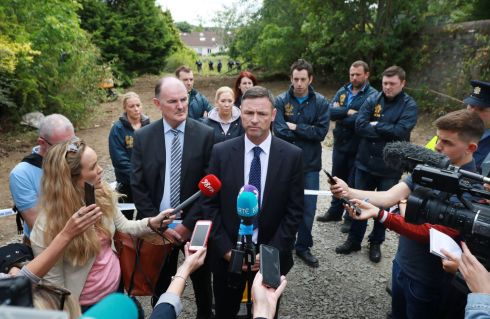 TREVOR DEELY DISAPPEARANCE: Det Supt Paul Costello and Det Insp Peter O'Boyle speaking at a briefing at the site in Chapelizod which gardaí investigating the disappearance of Trevor Deely searched over the weekend. Photograph: Nick Bradshaw