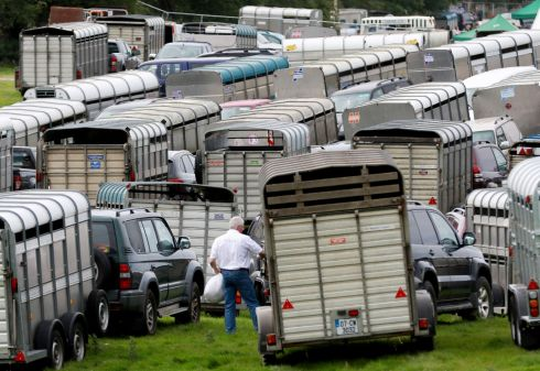 TULLAMORE SHOW: Livestock trailers and vehicles parked at the Tullamore Show. About 60,000 were expected at the agricultural event on Sunday. Photograph: Nick Bradshaw