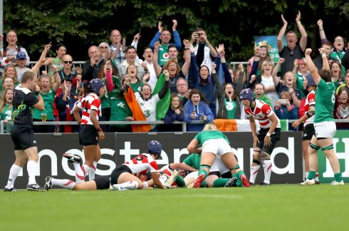 ONWARDS AND UPWARDS: Ireland players and supporters celebrate coming from behind to beat Japan. Photograph: Bryan Keane/Inpho