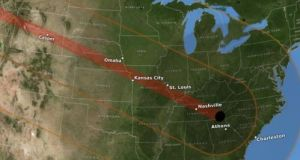 The 2017 path of the Great Americian Eclipse which will be seen on August 21st. Source: NASA