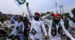 Pakistan's Sikh minority celebrate the country's independence day, in Peshawar, Pakistan, on Monday. Pakistan  celebrates independence on August 14th, one day earlier than India. Photograph: Arshad Arbab