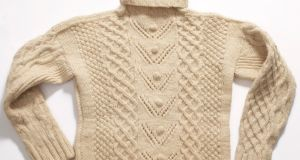 The Aran sweater which will be displayed in MOMA from the  October 1st to January 28th in Items: Is Fashion Modern exhibition. From Ireland's National Folklife Collection in Castlebar, Co Mayo.