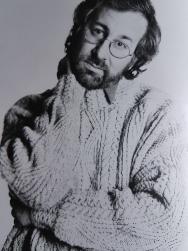 Steven Spielberg director in an Aran handknit from Cleo in Kildare Street Dublin photographed by Richard Avedon