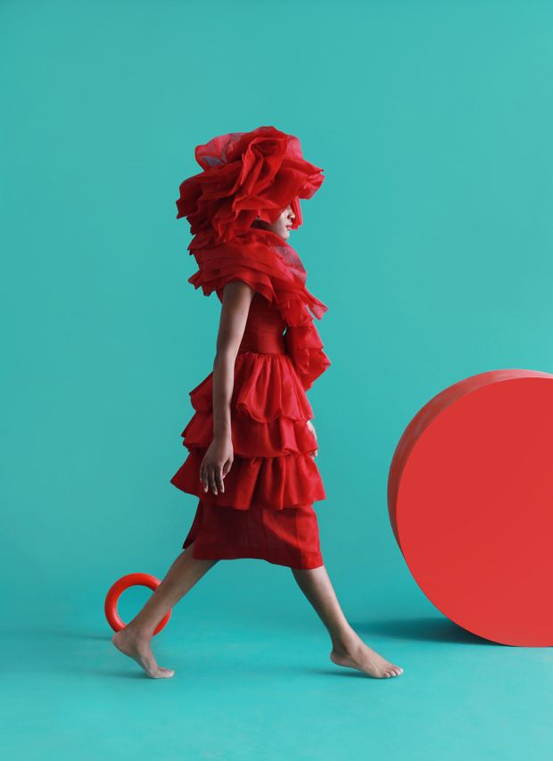 Organza pleated dress, collar and hat by John Rocha from AW 2014 collection.