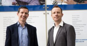 Selio co-founders Colm McGarvey and Dr Garrett Ryan: based in Trinity College Dublin, their  novel medical device will transform lung biopsy procedures by eliminating collapsed lungs.