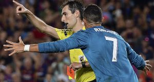 Cristiano Ronaldo has been handed a five-match ban after he was sent off during Real Madrid's Super Cup win over Barcelona. Photograph: Josep Lago/AFP