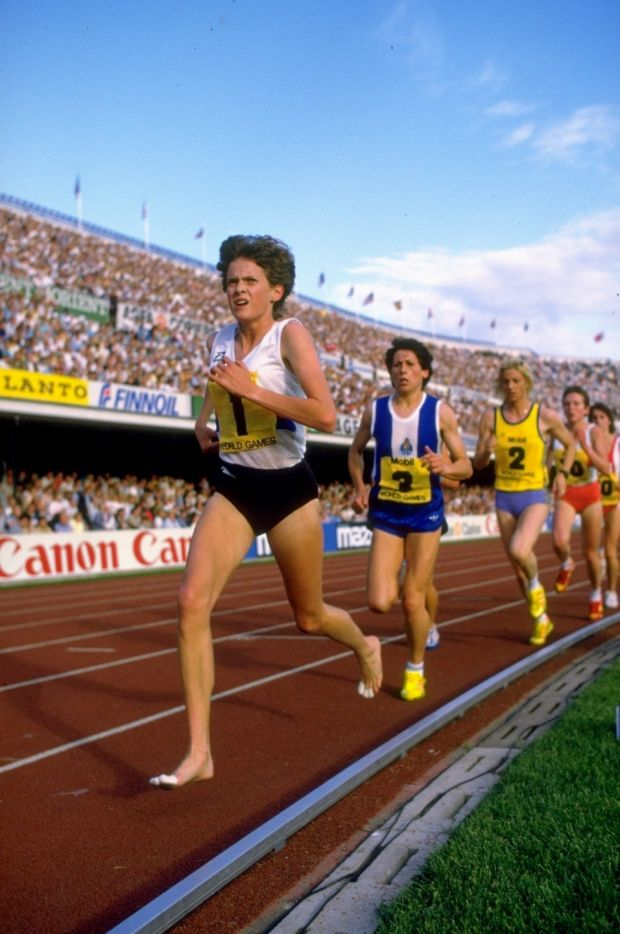 Zola Budd of South Africa leads the field during an event at the Helsinki Grand Prix at the Olympic Stadium in Helsinki, Finland in 1985. Photograph: Allsport UK /Allsport