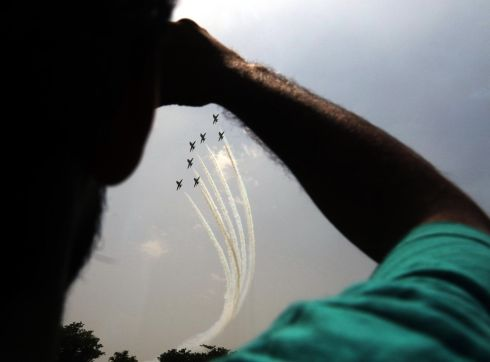INDEPENDENCE DAY: The Pakistan Air Force performs during Independence Day celebrations in Islamabad. Pakistan celebrated its 70th independence anniversary from British rule in 1947, on August 14th 2017.  Photograph: S Shahzad/EPA