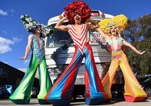 QUEENS OF THE DESERT: Actors pose infront of the Priscilla bus in Melbourne. The original Priscilla bus has returned to Melbourne for the first day of auditions ahead of the musical's 10th anniversary tour around Australia.  Photograph:Quinn Rooney/Getty Images