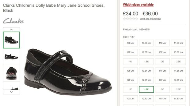 Screengrab from the John Lewis website showing a shoe from the Clarks Dolly Babe range