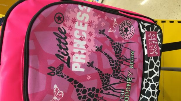 Tesco's pink backpack says 'Little Princess'