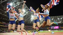 Britain's women's 4x400m relay team of  Zoey Clark, Laviai Nielsen, Eilidh Doyle and Emily Diamond  celebrate winning silver at the World Championships in London.  Photograph: Matthias Hangst/Getty Images.