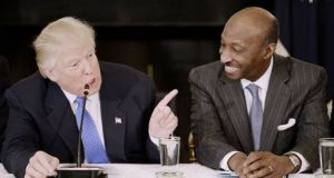 A photograph taken on February 23rd, 2017, showing President Trump and Merck CEO Kenneth Frazier during a meeting with manufacturing CEOs in the White House. Photograph: Getty Imagescc