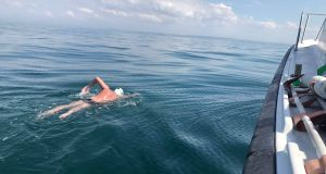 The distance between Dover and Calais is 34km in a straight line, but the current took Wesley Nolan in an S shape across the channel, so by the end he had swam 61km. Photograph: Facebook