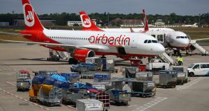 German carrier Air Berlin aircraft are pictured at Tegel airport in Berlin, Germany. Photograph: Hannibal Hanschke/Reuters