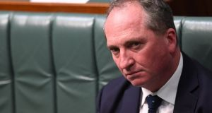Australian deputy prime minister Barnaby Joyce: revealed to hold New Zealand citizenship and may be ineligible to sit in parliament under the Australian constitution, which disqualifies dual nationals. Photograph:  Lukas Coch/EPA