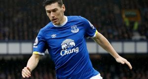 Everton midfielder Gareth Barry will undergo a medical at West Brom later on Tuesday - reports. Photograph: PA