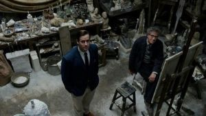 Sitting pretty: Armie Hammer as the American writer James Lord and Geoffrey Rush as the Swiss painter Alberto Giacometti
