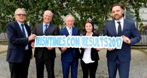 At the launch of The Irish Times Results Help Desk 2017 from left Brian Mooney , The Irish Times, Brian Howard, guidance counsellor, Minister for Education Richard Bruton, Deirdre Garrett, guidance counsellor and  journalist Éanna Ó Caollaí. Photograph: Cyril Byrne/The Irish Times