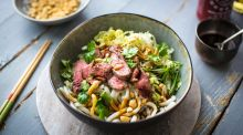 Spicy steak noodle bowl with sesame soy dressing