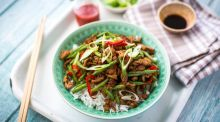 Szechuan pork & green bean stir fry