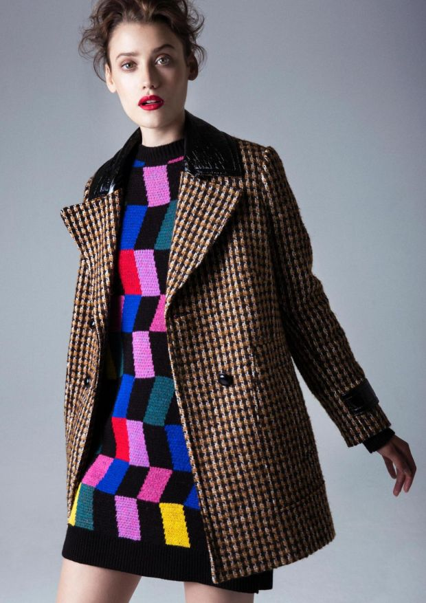 Penneys check coat €40, colour block knitted dress €20.