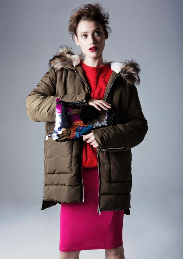 Padded zip hem parka €35, cable jumper €20 and sequin clutch €12, all from Penneys.