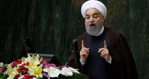 Hassan Rouhani's remarks are thought likely to be an attempt to appease hardliners at home who have demanded a tougher stand against the US. Photograph: Abedin Taherkenareh/EPA