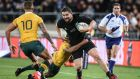 New Zealand's Dane Coles  is tackled during a Rugby Championship match against Australia in Wellington last year. Photograph:  Martin Hunter/Getty Images