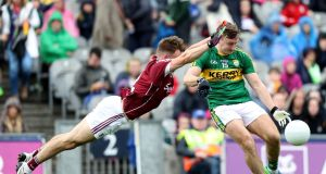 Galway's Eoghan Kerin  and Kerry's James O'Donoghue in the quarter-final at  Croke Park in July. Kerry  got past Galway, yet  a lot of their guys didn't play well. Photograph: INPHO/Oisin Keniry