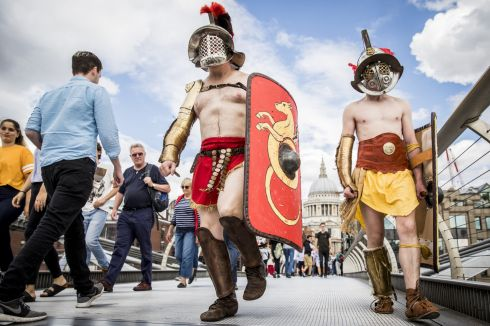 ROMAN AROUND: Members from Britannia dressed as Roman Gladiators visit London landmarks ahead of the Museum of London: Gladiator Games on August 15, 2017 in London, England. The Museum of London: Gladiator Games takes place at the site of London's only Roman amphitheatre which was discovered by archaeologists under the courtyard of the Guildhall.   Photograph:Tristan Fewings/Getty Images